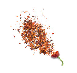 Crushed chili pepper on white background