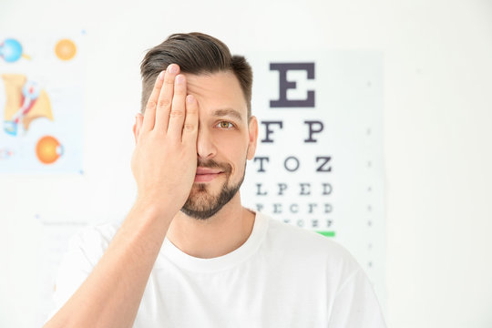 Young man visiting ophthalmologist