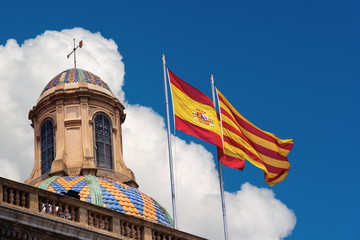 Flags of Spain and Catalonia Together - Palau de la generalitat de Catalunya in Barcelona