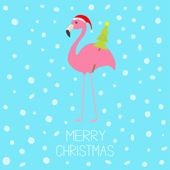 Merry Christmas. Pink flamingo with wing holding fir tree. Santa Claus hat. Exotic tropical bird. Zoo animal collection. Cute cartoon character. Decoration element. Flat design. Blue snow background.