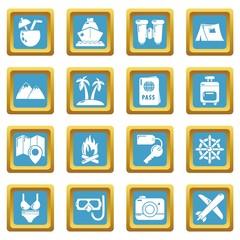 Travel summer icons set sapphirine square vector
