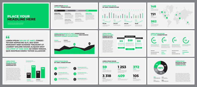 Original Presentation templates. Use in corporate report, annual report.