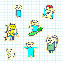 A set of stickers with cats. Handmade sketch