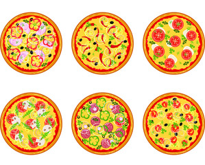 Set of pizza with different ingredients. Vector flat pizza on white background.