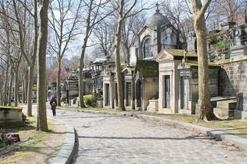 Road in Père-Lachaise (famous cemetery in Paris, France)