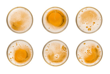 Canvas Prints Beer / Cider Collection set mug of beer with bubble on glass isolated on white background celebration object design top view