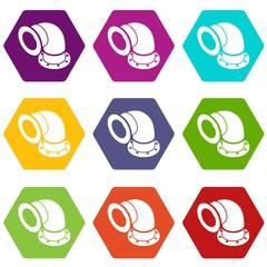 Semicircular pipe icons set 9 vector