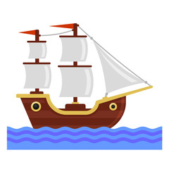 Cartoon Ship with White Sails. Flat Style Vector