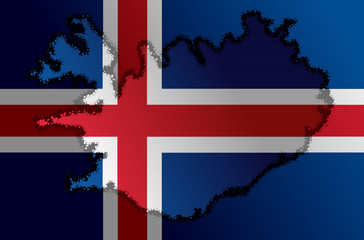 Icelandic flag with a contour of border