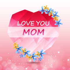 Elegant Greeting Card design with Creative Text  Happy Mother's Day