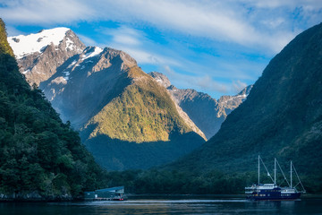 Clear sunny morning at Harrison Cove -Milford Sound, Fiordland National Park, New Zealand, South Island.