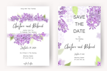 Save the date card, wedding invitation, greeting card with beautiful flowers and letters