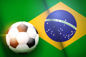 Poster of Football ball on Brazil Flag Backgound. Football and Soccer Games. Sport equipment and teams. Vector Illustration