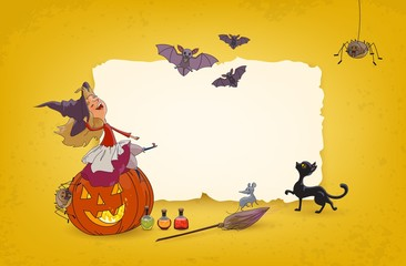 Halloween background Young witch sitting on pumpkin Festive advertising bannerparty and holiday sales