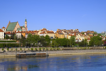 Warsaw, Poland - Panoramic view of historic quarter of Warsaw with Royal Castle and old town...