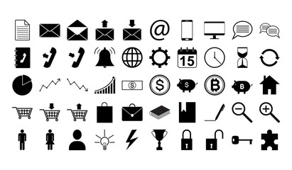 Icon set for business and work 50 pictogram vector