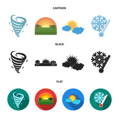 Tornado, sunrise, cloudiness, snow and frost. The weather set collection icons in cartoon,black,flat style vector symbol stock illustration web.