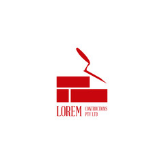 Brickwork and building construction concept for company logo. Modern renovation vector icon