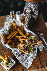 Vegetarian wrap with chips