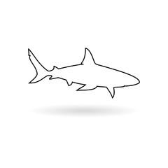 Shark sign, Shark line icon