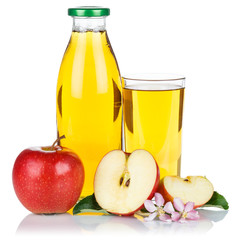 Apfelsaft Apfel Saft frisch Äpfel Flasche Fruchtsaft Quadrat freigestellt isoliert