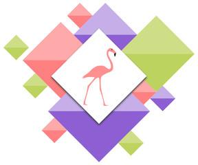 Flamingo mit geometrischen Flächen