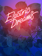 Araceae leaf tropic electric dream background