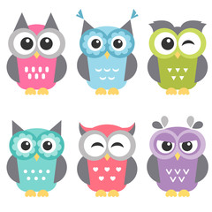Set of funny owls isolated on white