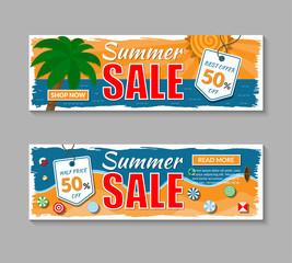 Set of summer sale banners. Vector illustration.