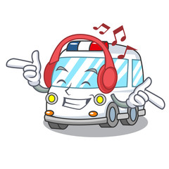 Listening music ambulance mascot cartoon style