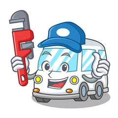 Plumber ambulance mascot cartoon style