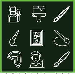 Set of 9 artist outline icons