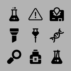Icons Chemistry with danger, flask, loupe, chemical and funnel