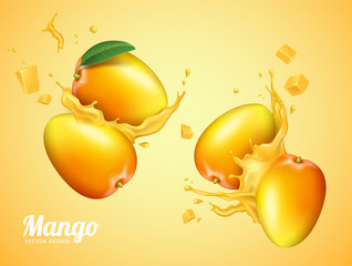 Mango juice with fresh fruit
