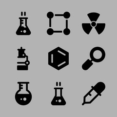 Icons Chemistry with flask, microscope, radiation, loupe and dropper