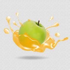 Apple fruit juice splash realistic illustration