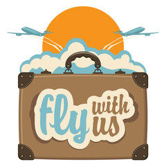 Vector banner with a travel suitcase and passenger planes against the backdrop of sun and clouds. Air transportation. Calligraphic inscription Fly with us