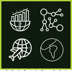 Set of 4 globe outline icons