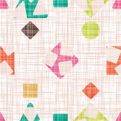 Fabric with geometric shapes. Vector illustration. Rhombus, square, triangle and circle. Colorful Wallpaper