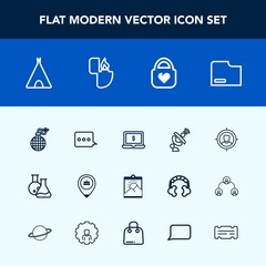 Modern, simple vector icon set with sign, explosion, notebook, adventure, laptop, message, lighter, camp, object, target, fashion, screen, travel, frame, business, satellite, equipment, blank icons