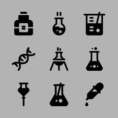 Icons Chemistry with flask, dropper, beaker, experiment and chemical