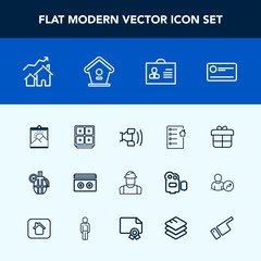 Modern, simple vector icon set with contract, holiday, document, stereo, home, bank, birdhouse, decoration, construction, female, property, hand, real, picture, grenade, house, blank, engineer icons