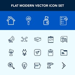 Modern, simple vector icon set with cargo, van, music, tropical, drawer, nature, telephone, transportation, boy, cell, communication, picture, car, internet, email, bikini, gramophone, palm, web icons