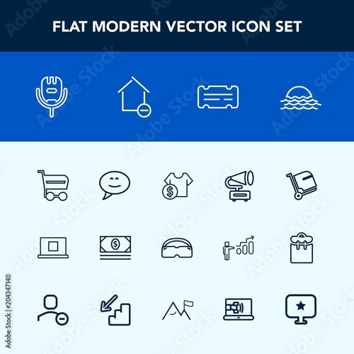 Modern Simple Vector Icon Set With Cost Web Bank Song Ticket Coupon Microphone Business Nature Sun Internet Market Sch Trolley Money
