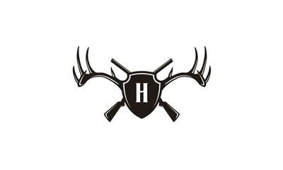 Antlers, Shield and Guns Hunting logo design inspiration