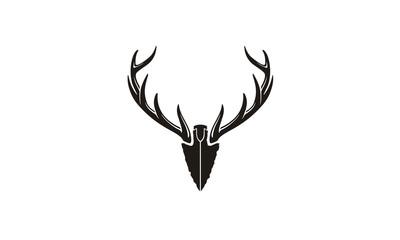 Spear Stag Deer Buck Antler Arrowhead for Hunting logo design inspiration