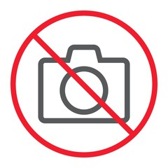 No camera line icon, prohibition and forbidden, no photo sign vector graphics, a linear pattern on a white background, eps 10.