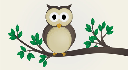 Cute owl illustration vector. The owl sits on a branch
