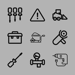 Icons Construction with driller, danger, screwdrivers, saw and bulldozer