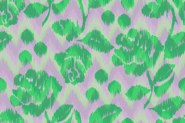 Chevron pattern green roses, floral traditional ornament. Watercolor painting seamless tribal print. Ethnic geometric aztec backgrounds. Green pink painting flowers ikat fabric for pillow and plaid.